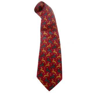 Navarenzo Gabrielli Deer Motif Silk Neck Tie