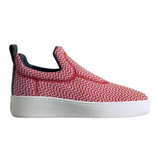 Celine Red Zig-Zag Jacquard Platform Sneakers