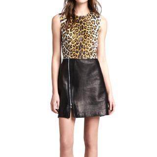 3.1 Phillip Lim Leopard Print Panelled Leather Dress