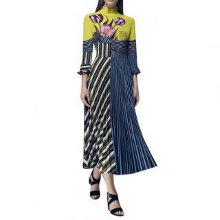 Mary Katrantzou Carni Tulip/Stripe Pleated Skirt Silk Dress