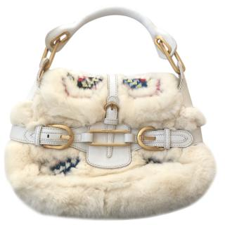 Jimmy Choo Tulita Rabbit Fur & Leather Embroidered Bag
