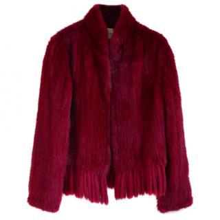 Valentino Vintage Cherry Red Mink Fur Fringe Hem Jacket