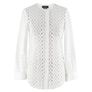 Isabel Marant White Broderie Anglaise Raw Hem Blouse