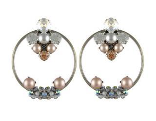 Vicki Sarge Grey Crystal Hoop Earrings