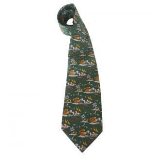 Balenciaga Noah's Ark Motif Green Silk Neck Tie