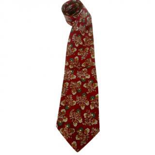 Valentino Dark Cranberry Floral Silk Neck Tie