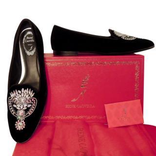 Rene Caovilla black velvet crystal slippers