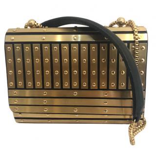 Elie Saab panelled metallic plaques shoulder bag