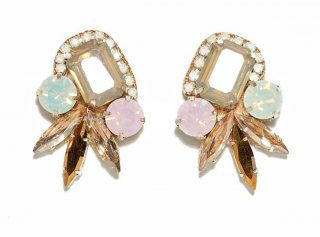 Deepa Gurnani Faceted Light Blue and Pink Crystal Earrings