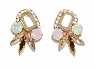 Deepa Gurnani Faceted Light Blue and Pink Crystal Earrings