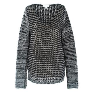 Helmut Lang Monochrome Loose Knit V-neck Jumper