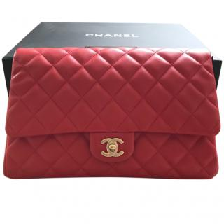 Chanel classic red quilted flap bag