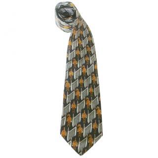 Lancel Horses Navy Blue Silk Neck Tie