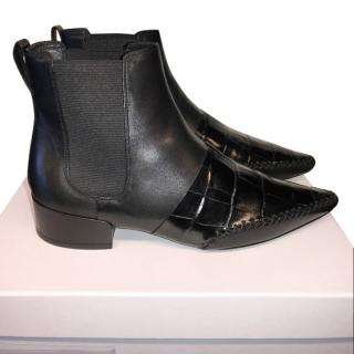Dior Patent Croc & Leather Ankle Boots
