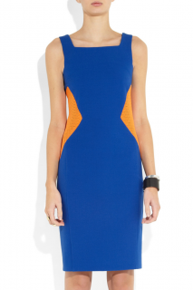 Chalayan Blue Mesh Insert Stretch-Crepe Dress