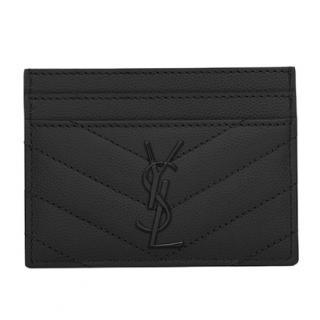 YSL grain de poudre embossed leather card case