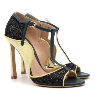 Mary Katrantzou x Gianvito Rossi Colour Block Glitter Sandals