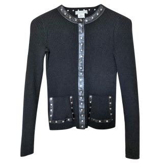Celine ribbed cardigan with leather trims