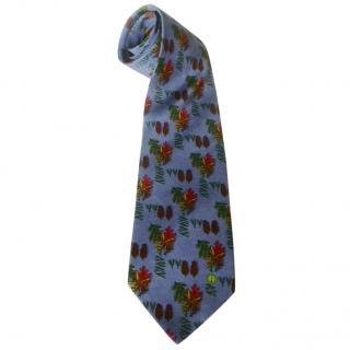 Dunhill Denim Blue Pine Cones Pine Needles Leaves Silk Neck Tie
