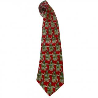 Givenchy Men on Elephants Indian Theme Red Silk Neck Tie