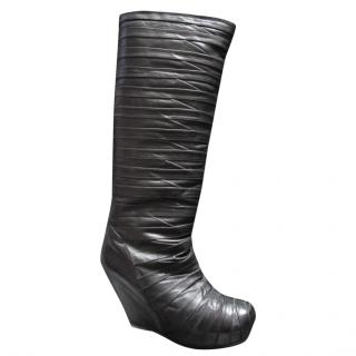 Rick Owens Black Bandage Multi Strap Wedge Knee High Leather Boots