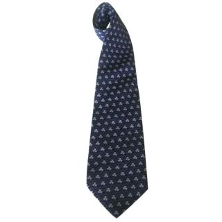 Yves Saint Laurent YSL Blue Clover Motif Silk Neck Tie