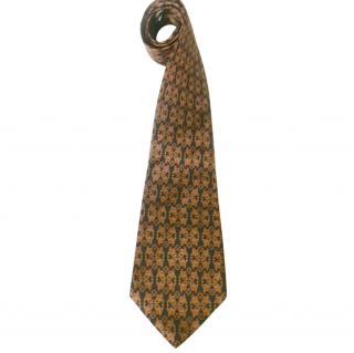 Salvatore Ferragamo Navy and Gold Silk Neck Tie