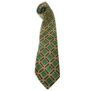 Dunhill Diamonds Check Marble Like Motif Green Beige Classic Silk Neck