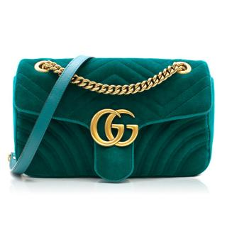 Gucci Small Turquoise GG Marmont Velvet Bag