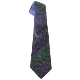 Missoni Purple and Green Silk Woven Tie