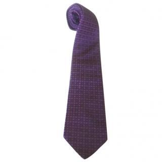 Nina Ricci Violet Purple Fushia Black Woven Silk Neck Tie