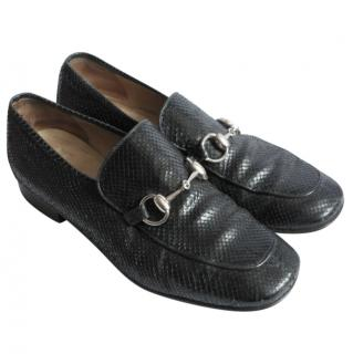 Gucci Vintage Black Python Horse Bit Loafers