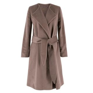 Halston Heritage Cashmere & Wool-blend Brown Belted Coat