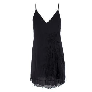 La Perla Black Silk Applique Short Night Dress
