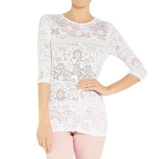 Isabel Marant Etoile Ritz white stretch lace top