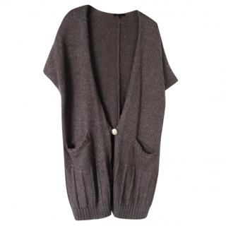 Maje wool alpaca blend metallic grey oversized cardigan