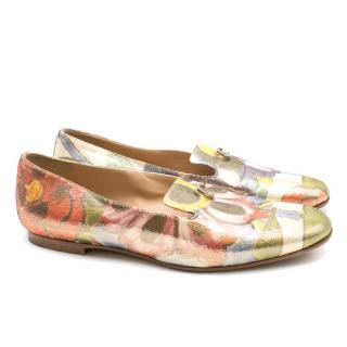 Chanel Metallic Floral Patterned Loafers