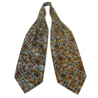 Pierre Cardin Floral Check Ascot Style Silk Tie