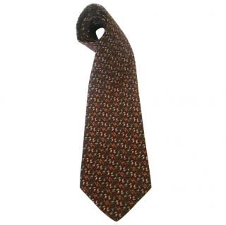 Salvatore Ferragamo Navy Brown Circles and Leaves Silk Neck Tie
