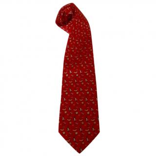Salvatore Ferragamo Flying Monkeys Whimsical Motif Red Silk Neck Tie