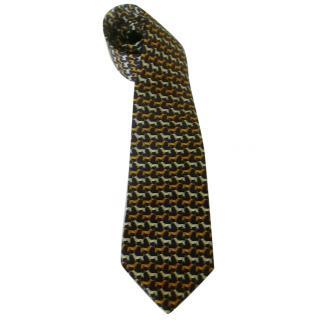 Gilles de Prince Paris Navy Blue Basset Hound Silk Neck Tie