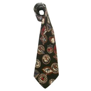 Hugo Boss Vintage Inspired Winter Sports Motif Black Silk Neck Tie