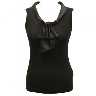 Dolce & Gabbana Black Top Satin Bow new