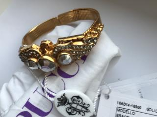 Emilio Pucci Brass & Crystal Bracelet