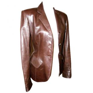 AZZEDINE ALAIA WOMENS FITTED NAPPA LEATHER JACKET RICH COFFEE BROWN SIZE UK 12 EU 38