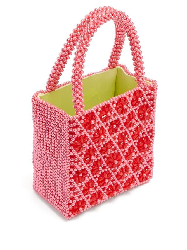 Shrimps Venezia pink faux pearl bag
