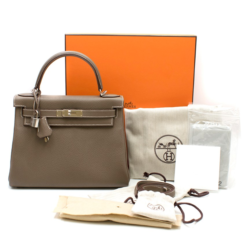 Hermes Clemence Leather Etoupe 28cm Kelly Bag