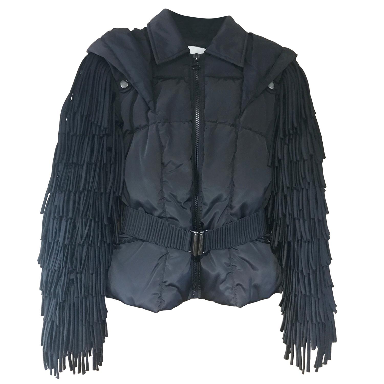 Balmain Black Nylon Down Filled Fringe Hooded Coat