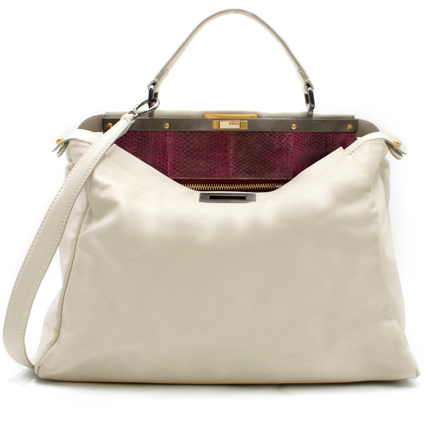 873c0993f6da Fendi Off White Large Peekaboo Bag