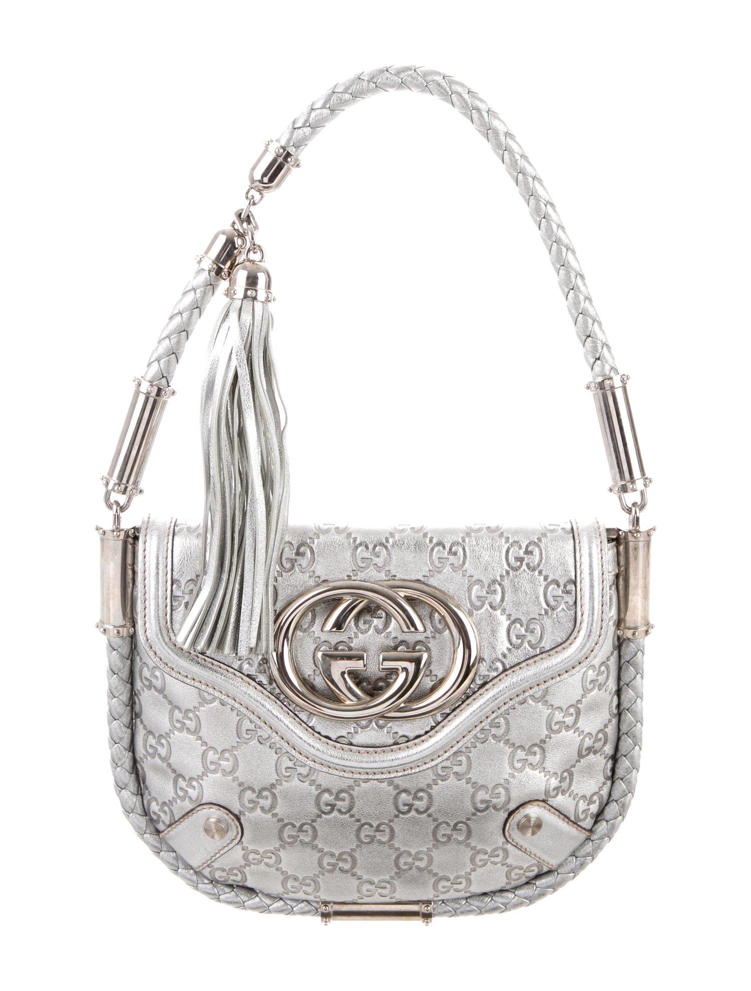 05834c7c295 Gucci Metallic Silver Guccissima Small Britt Shoulder Bag